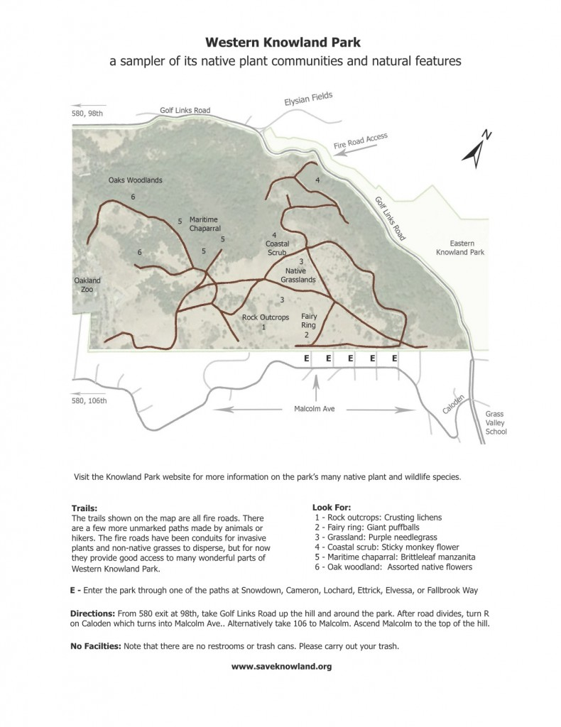 Trail map of western Knowland Park