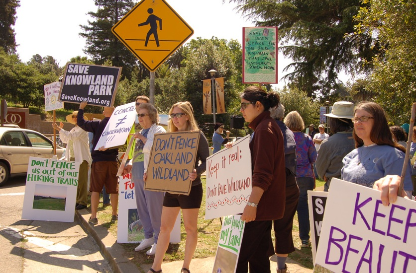 Some of the crowd demonstrating to save Knowland Park